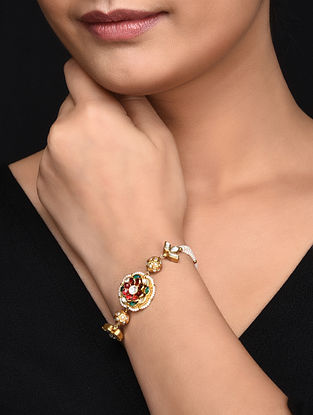 Red Green Gold Plated Kundan Inspired Silver Bracelet with Pearls