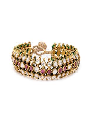 Pink Gold Plated Kundan Inspired Silver Bracelet