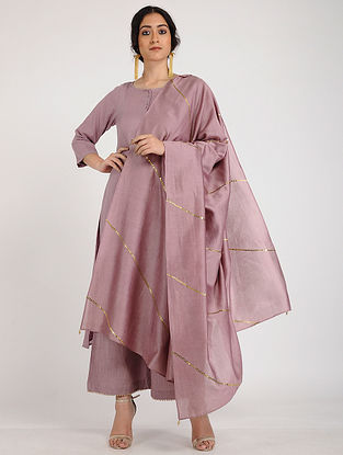 Mauve Hand Embroidered Chanderi Silk Dupatta with Sequin