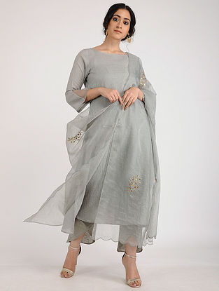 Grey Hand Embroidered Organza Viscose Dupatta with Gota