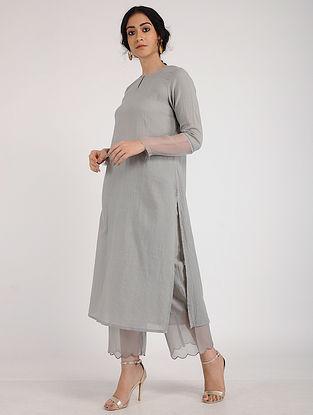Grey Cotton Dobby Kurta with Crochet Detail and Slip (Set of 2)