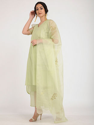 Green Cotton Dobby Kurta with Tissue Puff Sleeves and Slip (Set of 2)