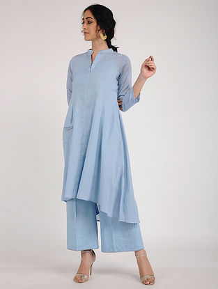 Blue Cotton Dobby Kurta with Pearl Detailing and Slip (Set of 2)