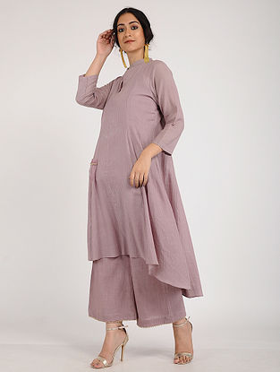 Mauve Cotton Dobby Kurta with Pearl Detailing and Slip (Set of 2)