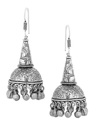 Classic Silver Tone Brass Jhumkis with Floral Design