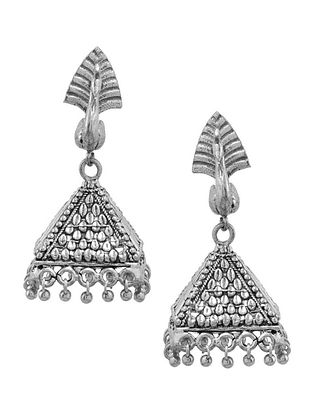 Classic Silver Tone Brass Jhumkis with Peacock Design