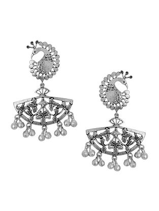 Classic Silver Tone Brass Earrings with Peacock Design
