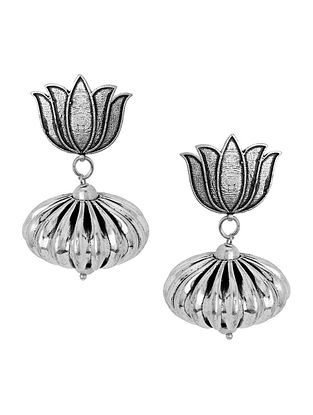 Classic Silver Tone Brass Earrings with Lotus Design