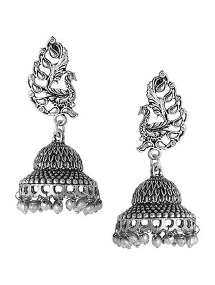 Classic Silver Tone Jhumkis with Peacock Design