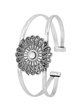 Moonstone Silver Tone Brass Adjustable Cuff
