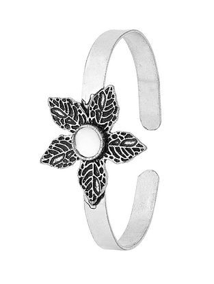 Classic Silver Tone Brass Adjustable Cuff with Floral Design