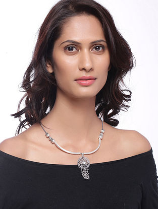 Classic Silver Tone Brass Necklace with Lord Ganesha Design