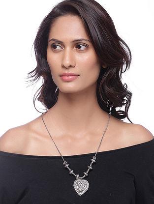 White Silver Tone Brass Necklace