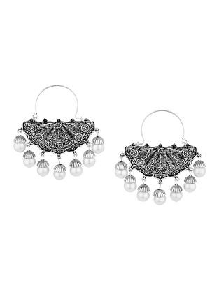 Classic Silver Tone Earrings with Pearls