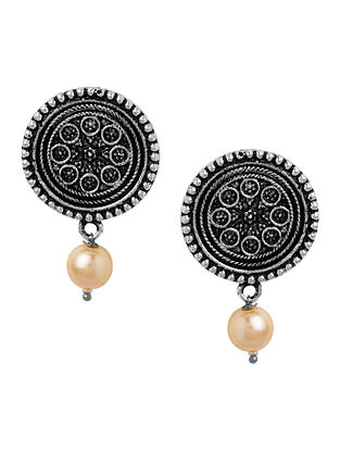Classic Silver Tone Earrings with Pearl