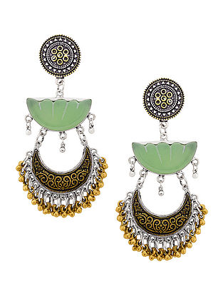 Green Dual Tone Earrings
