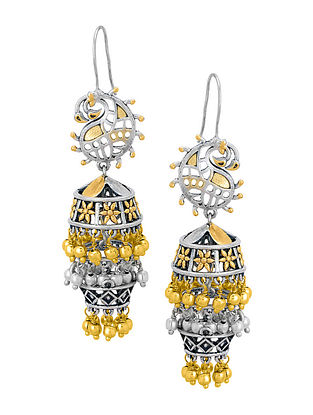 Classic Dual Tone Brass Jhumkis with Paisley Design