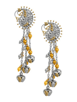 Classic Dual Tone Brass Earrings with Paisley Design
