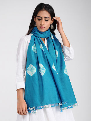 Blue-Ivory Bandhani Wool Stole with Tassels