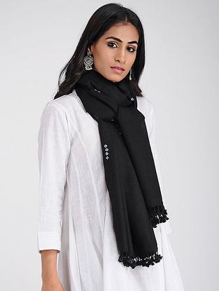 Black Bandhani Wool Stole with Tassels