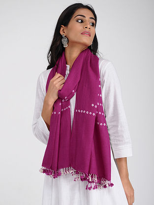 Pink Bandhani Wool Stole with Tassels