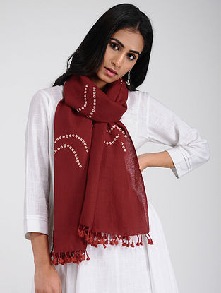 Red-Ivory Bandhani Wool Stole with Tassels