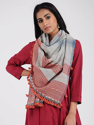 Grey-Red Kala Cotton Stole with Tassels
