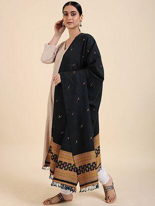 Black Handwoven Merino Wool Shawl
