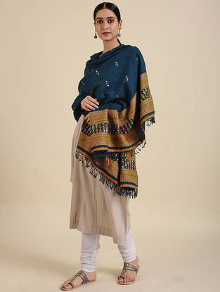 Blue Handwoven Merino Wool Shawl