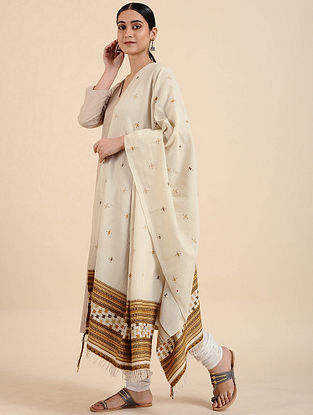 Off White Handwoven Merino Wool Shawl