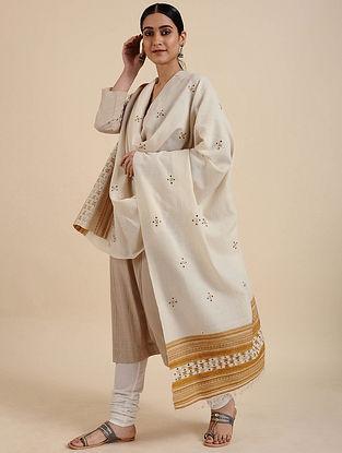Ivory Handwoven Merino Wool Shawl