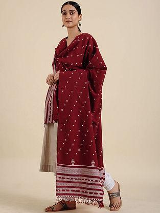 Red Handwoven Merino Wool Shawl