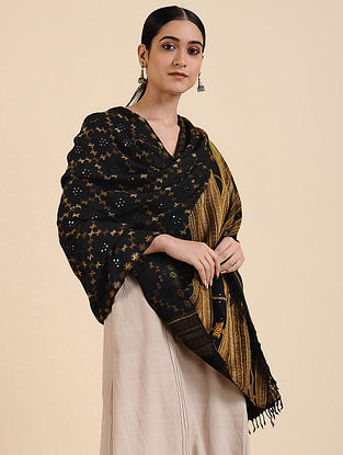 Black Handwoven Mirror Work Merino Wool Shawl