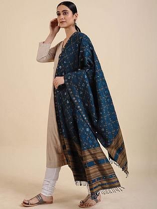 Blue Handwoven Mirror Work Merino Wool Shawl