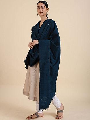 Navy Blue Handwoven Merino Wool Shawl