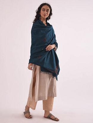 Blue Hand Embroidered Merino Wool Shawl