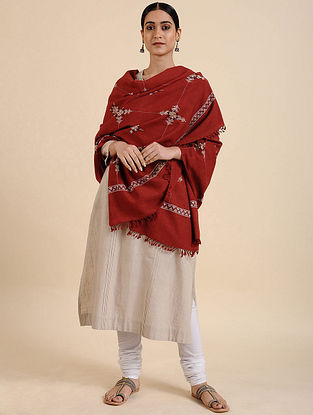 Red Hand Embroidered Meriono Wool Shawl