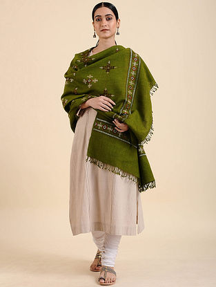 Green Hand Embroidered Meriono Wool Shawl