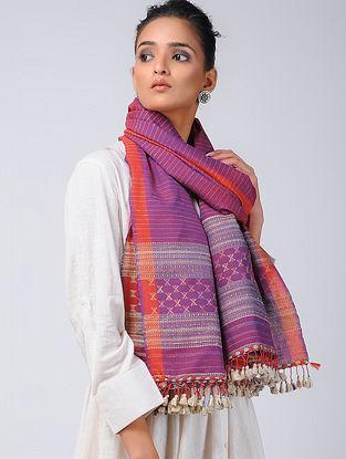 Purple-Red Cotton Silk Stole with Tassels