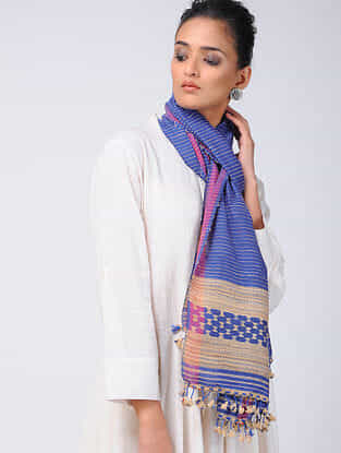 Blue-Beige Cotton Silk Stole with Tassels