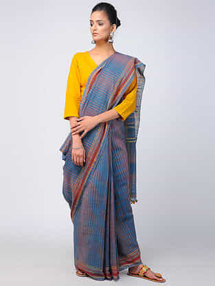 Red-Blue Kala Cotton Saree with Tassels