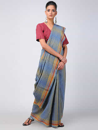 Blue-Yellow Kala Cotton Saree with Tassels