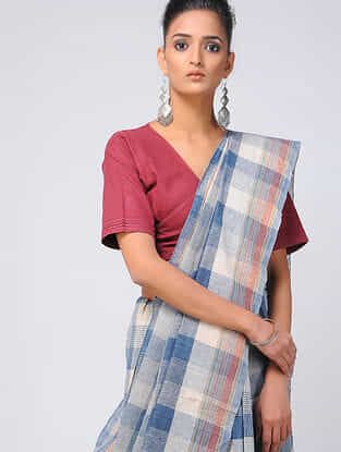 Blue-Ivory Kala Cotton Saree with Tassels