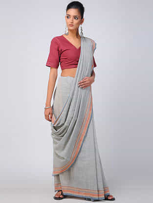 Grey-Red Kala Cotton Saree with Tassels