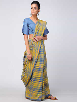 Yellow-Blue Kala Cotton Saree with Tassels