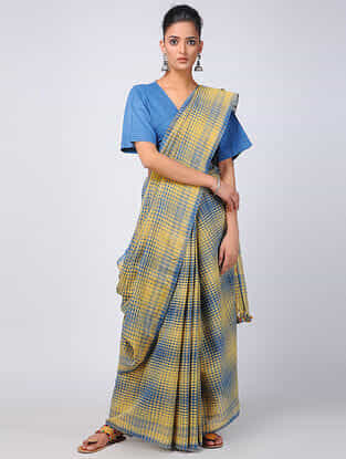 Yellow-Ivory Kala Cotton Saree with Tassels
