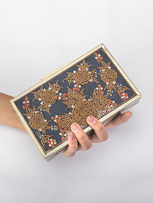 Royal Blue Handcrafted Zardosi Iron Frame Clutch