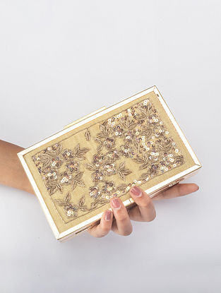Beige Handcrafted Sequined Iron Frame Clutch