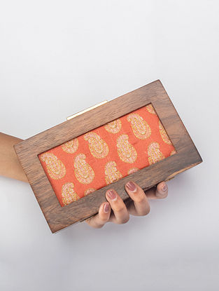 Sunset Orange Handcrafted Printed Wooden Frame Clutch