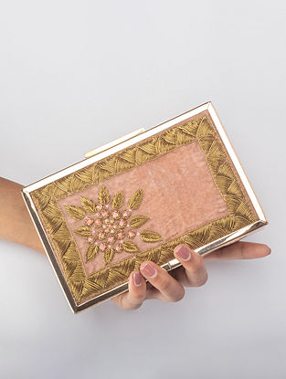 Onion Pink Handcrafted Zardosi Embroidered Iron Frame Clutch